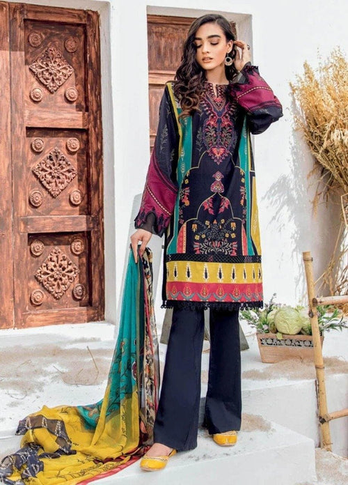 3 pcs IZ-05 Embroidered Linen Suit - Chenab Stuff