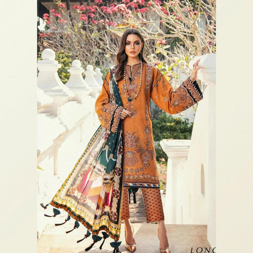3 PCS BAROQUE LINEN SUIT WITH WOOL SHAWL CODE D-42 - Chenab Stuff
