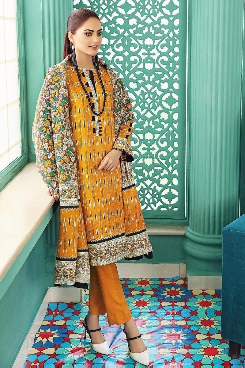 3 PCS GUL AHMED KHADDAR SUIT WITH WOOL SHAWL CODE D-48