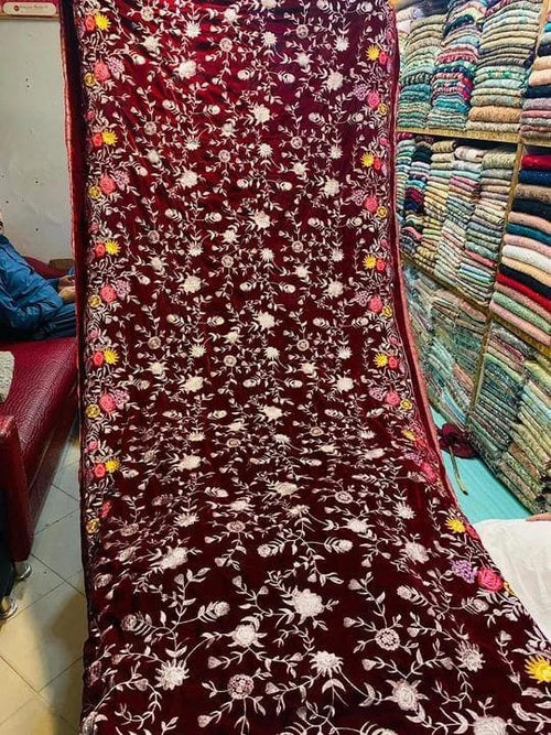 Bareeze BRS-06 Mehroon  Embroidered Heavy Velvet Shawl Winter Collection - Chenab Stuff