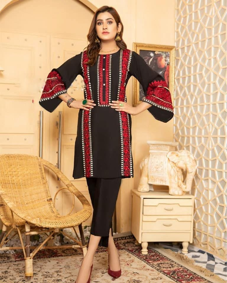 EMBROIDERED LINEN 2 PC DRESS- 100053