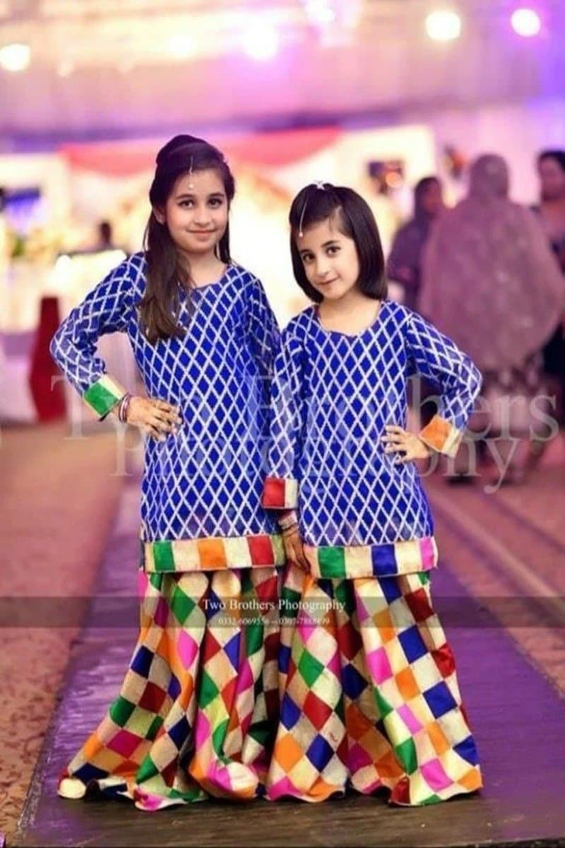Maria B D-333 Blue kids Wear Lawn Embroidered two piece