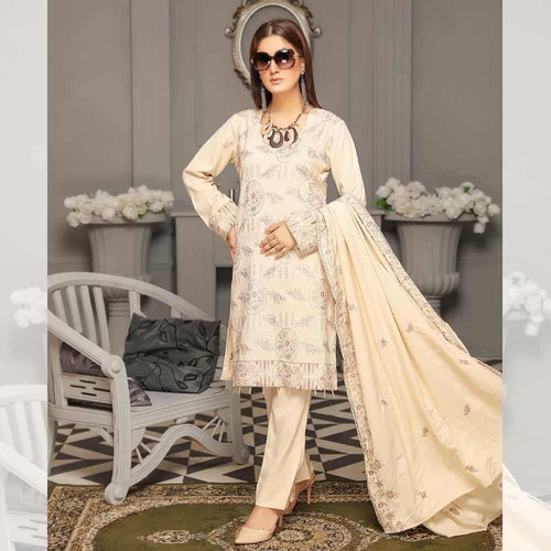 3Pcs Unstitched Suit Tabeer (Orignal) Design 103 - Chenab Stuff