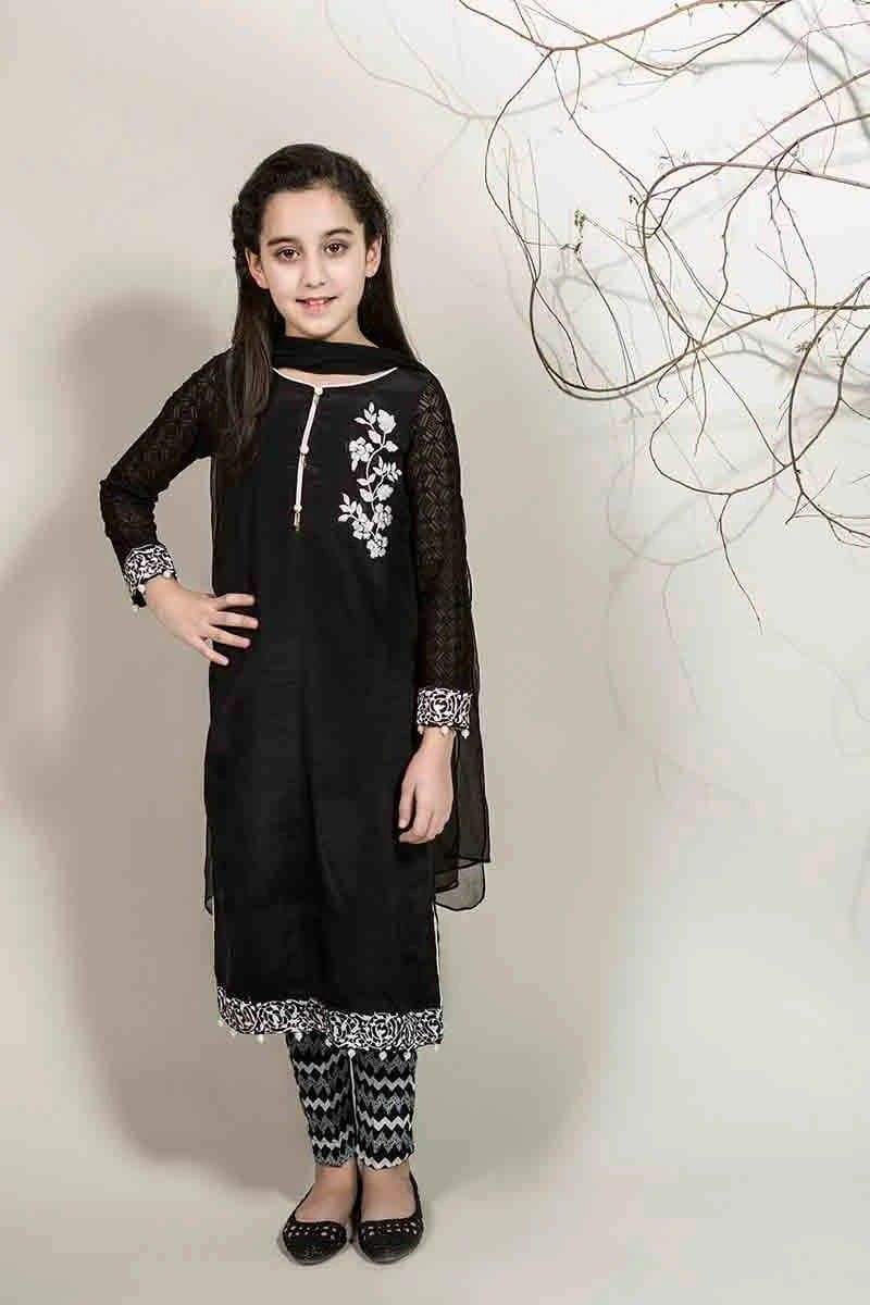 Maria B D-336 Black kids Wear Linen Embroidered two piece