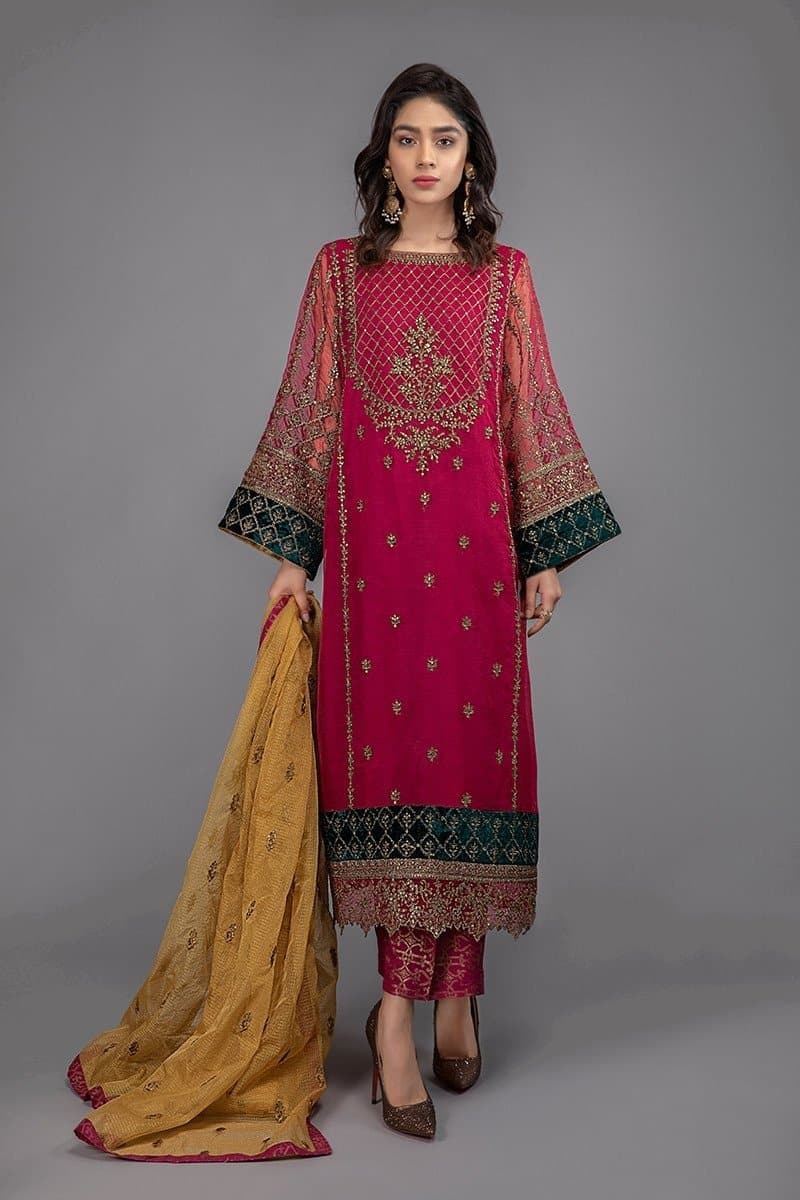 Maria B MB-294 Red Embroidered Three Piece Lawn Collection