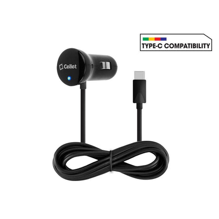 Blackberry Torch 9850 Cellet 3 Ft 15 Watt 3 Amp USB Type-C Heavy Duty Car Charger, Black