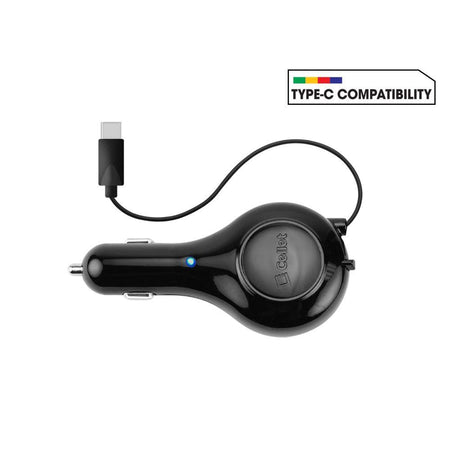 Blackberry Torch 9850 Cellet 15 Watt 3 Amp USB Type-C Heavy Duty Retractable Car Charger, Black