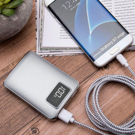 Silver 4,500 mAh Portable Battery Charger/Powerbank with 2 USB Ports, LCD Display and Flashlight