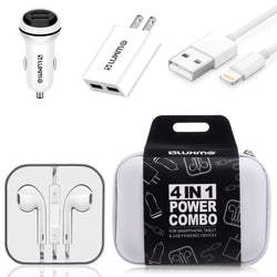 Samsung Galaxy J3 Luna Pro - Luxmo Charging Bundle - Includes Car & Home Charger Adapters, Lightning Cable & Headphones