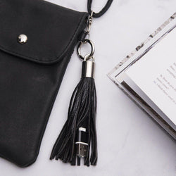 - Leather Tassel Keychain with Micro USB Charge and Sync Cable, Black