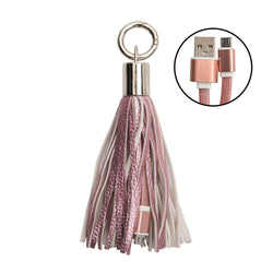 Samsung Galaxy Tab 3 10 1 - Leather Tassel Keychain with Micro USB Charge and Sync Cable