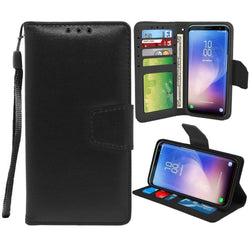 - Leather Wallet Case and Stand with Wristlet, Black