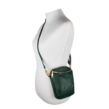 Other Brands Alcatel Onetouch Idol 3 5 5 Dual Zippered Crossbody Mini Bucket Bag, Green
