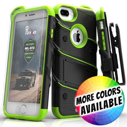 - Bolt Heavy-Duty Rugged Case, Holster and Screen Combo, Black/Neon Green