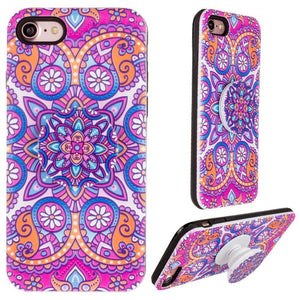 Mandala Textured Hybrid Fashion Case with Built in Pop-out Finger Grip, Purple