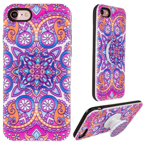 Image of Mandala Textured Hybrid Fashion Case with Built in Pop-out Finger Grip, Purple
