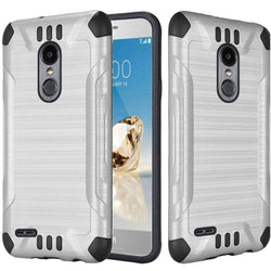 - Brushed Metal Design Combat Hybrid Rugged Case Silver/black Phone Cases & Covers