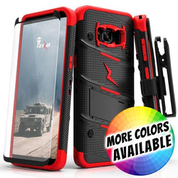 - Bolt Heavy-Duty Rugged Case, Holster and Screen Combo, Black/Red