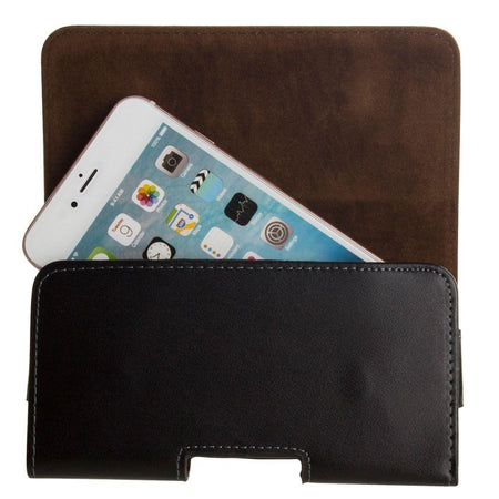 Blackberry 8800 Genuine Leather Hand-Crafted Horizontal Carrying Pouch with Belt Clip, Black