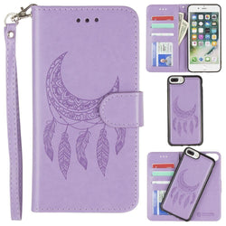 - Embossed Moon Dream Catcher Design Wallet Case with Detachable Matching Case and Wristlet, Lavender