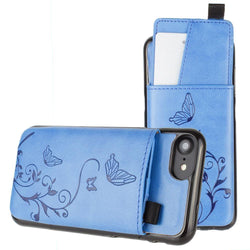 - Embossed Butterfly Leather Case With Pull-Out Card Slot Organizer Blue Phone Wallets Wristlets & Clutches