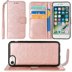 - Embossed Mandala Wallet Case with Detachable Matching Case and Wristlet, Rose Gold