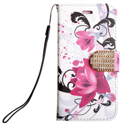 - Flowers And Vines Shimmering Folding Phone Wallet Multi-Color/white Wallets Wristlets & Clutches
