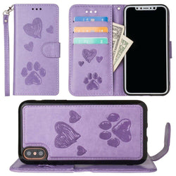 - Puppy Love Wallet with Matching Detachable Magnetic Phone Case and Wristlet, Lavender