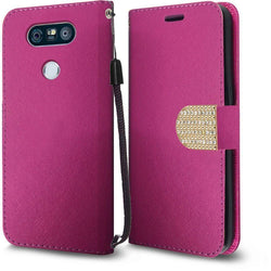- Bling Diamond Leather Wallet Case, Pink