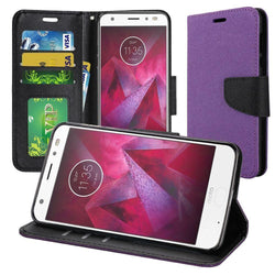 - Premium 2 Tone Leather Folding Wallet Case Purple/black Phone Wallets Wristlets & Clutches