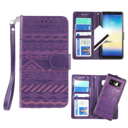 - Aztec tribal laser-cut wallet with detachable matching slim case and wristlet, Purple