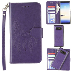 - Embossed Moon Dream Catcher Design Wallet Case with Detachable Matching Case and Wristlet, Purple