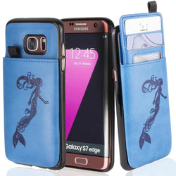 - Embossed Mermaid Leather Case with Pull-Out Card Slot Organizer, Blue