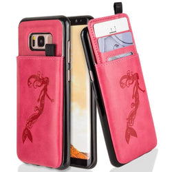 - Embossed Mermaid Leather Case with Pull-Out Card Slot Organizer, Hot Pink