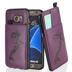 - Embossed Mermaid Leather Case with Pull-Out Card Slot Organizer, Purple