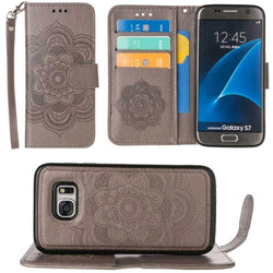 - Embossed Mandala Wallet Case With Detachable Matching And Wristlet Gray Phone Wallets Wristlets & Clutches