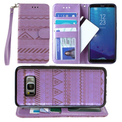 - Aztec tribal laser-cut wallet with detachable matching slim case and wristlet, Lavender