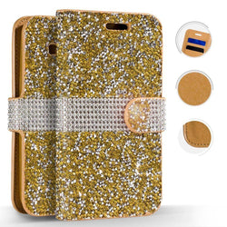 - Shimmering Rhinestone Phone Wallet Case Gold Wallets Wristlets & Clutches