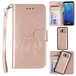 - Embossed Moon Dream Catcher Design Wallet Case with Detachable Matching Case and Wristlet, Rose Gold
