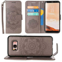 - Embossed Mandala Wallet Case with Detachable Matching Case and Wristlet, Gray