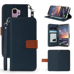 - Infolio Leather Wallet Case With Brown Flap And Wristlet Navy Blue/brown Phone Wallets Wristlets & Clutches