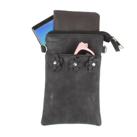 Image of Vegan Suede Flower Applique Crossbody with Adjustable and Detachable Strap, Black