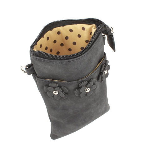 Vegan Suede Flower Applique Crossbody with Adjustable and Detachable Strap, Black