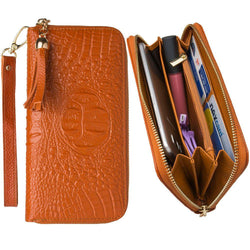 Motorola Backflip Mb300 - Genuine Leather Hand-Crafted Alligator Clutch Wallet with Tassel, Brown