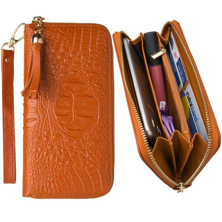 Zte Grand X Max Plus Genuine Leather Hand-Crafted Alligator Clutch Wallet with Tassel