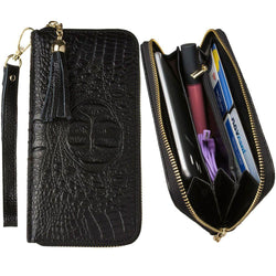 Motorola Backflip Mb300 - Genuine Leather Hand-Crafted Alligator Clutch Wallet with Tassel