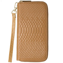 Blackberry Storm 9530 - Genuine Leather Hand-Crafted Snake-Skin Double Zipper Clutch Wallet, Beige