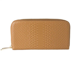 Samsung Vga1000 - Genuine Leather Hand-Crafted Snake-Skin Double Zipper Clutch Wallet, Beige