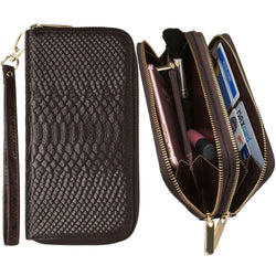 Blackberry Storm 9530 - Genuine Leather Hand-Crafted Snake-Skin Double Zipper Clutch Wallet