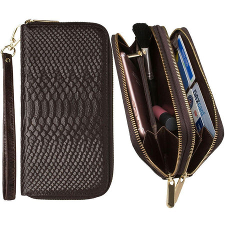 Htc One E9 Genuine Leather Hand-Crafted Snake-Skin Double Zipper Clutch Wallet